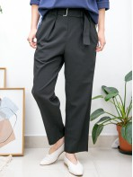 2015-1154 -靚CUT・西褲-橡根腰 X RUFFLE邊 , 兩側袋 X 前腰帶扣 , 滑滑料直腳褲 (韓國)