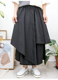 2015-1161 -隨意・型格-不規則下擺 X 兩側袋 , 橡根腰 X 恤衫料裙褲 (韓國)  -