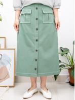 2015-1153 -斯文・ALine-前幅釘鈕 X 前兩袋 , 後腰中間橡根位 X 單邊側拉鏈 , 扯布料半截裙 (韓國) -