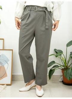 2015-1154A 只有size S - 靚CUT・西褲 -橡根腰 X RUFFLE邊 , 兩側袋 X 前腰帶扣 , 滑滑料直腳褲 (韓國)