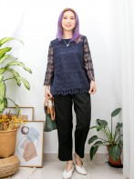2011-1508A - 甜美・蕾絲 -手袖 , 前幅通花LACE X 後幅百摺恤衫料 , 娃娃形TOP (前幅有厘布) (韓國)0
