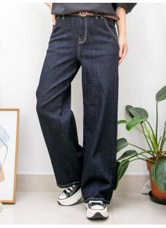 2015-1160 - 超顯高 -兩側袋 X 後腰橡根 , 薄牛仔料闊褲 (韓國)