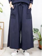 2015-1163A- 悠閒・舒適 - 兩側袋 X 橡根腰束繩 , 拼色 X 薄衛衣料闊褲 (韓國) 0