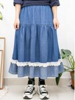 2015-1164 - 可愛・牛仔 -橡根腰 X 下擺LACE RUFFLE邊 , 深 , 淺牛仔拼布半截裙 (韓國)
