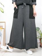 2015-1163-悠閒・舒適- 兩側袋 X 橡根腰束繩 , 拼色 X 薄衛衣料闊褲 (韓國)