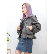 2013-1028-優美系- 下擺RUFFLE X 全開胸拉鏈 , 前兩袋 X 有帽 , 蝙蝠袖 X 風褸料外套 (韓國) 0