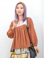 2011-1518A- 方領・娃娃 - 胸位打摺 X 拼色 , 縐縐麻棉料 X 方領TOP (韓國) 0