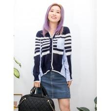 2013-1031- 獨特・設計 - 全開胸扣鈕 X 橫間線仔 X 直紋恤衫料 , 外套 (韓國)  0