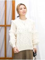 2011-1744-優美・麻花- 膊位 , 手袖通花LACE X RUFFLE邊 , 麻花PATTERN冷料TOP (韓國)