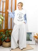 2011-1765A - 獨特・玩款 -袖口束繩 X手袖直紋恤衫料 拼 牛仔料 , 英文字PRINT X 冷料TOP (韓國)