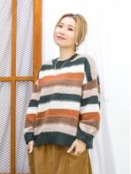 2011-1760A- 靚色・橫間 - 拼色橫間 X 金線 , 毛毛冷料TOP (韓國)