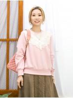 2011-1758-蕾絲控- 領位 , 袖口 , 下擺羅紋料 X 胸位通花LACE , COTTON料TOP (韓國)-
