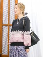 2011-1759A - 蕾絲・格仔 -手袖 , 前幅下擺格仔絨絨料 X 通花LACE , 淨色雙面料TOP (韓國)0