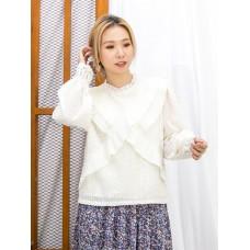 2011-1749 - Lace & Ruffles -前幅交叉百摺雪紡料 X 領邊 , 袖口通花LACE , 點點 , 格仔雪紡料TOP (有厘布) (韓國)0