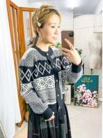 2013-1088 - 優美・慵懶感 -全開胸扣鈕 X 菱格 拼 波浪紋 , 冷料外套 (韓國)0