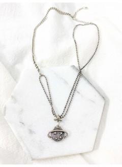 213-1003- 925 純銀 -- 土星吊飾 拼鏈 頸鏈 (韓國)