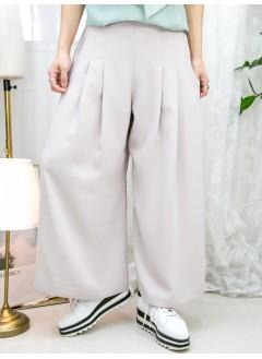 2115-1166A - 散發・氣質 -兩側袋 X 單邊腰位拉鏈 ,  後腰橡根 X 前腰打摺 , 滑滑料闊褲 (韓國)