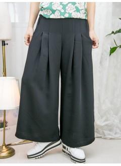 2115-1166-散發・氣質- 兩側袋 X 單邊腰位拉鏈 , 後腰橡根 X 前腰打摺 , 滑滑料闊褲 (韓國) -