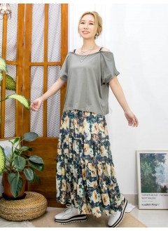 2111-1134C- 夏日感 - COTTON料 X OFF SHOULDERS TOP (韓國)-