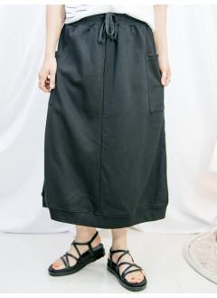 2115-1208-時尚・運動風- 兩側袋 X 後幅下擺開叉 , 橡根腰束繩 X 薄衛衣料半截裙 (韓國)