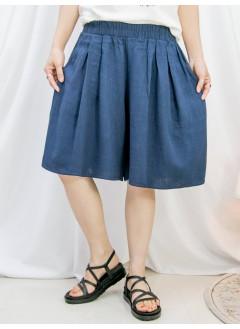 2115-1204A -超舒服-兩側袋 X 橡根腰 , 麻棉料闊短褲 (韓國)