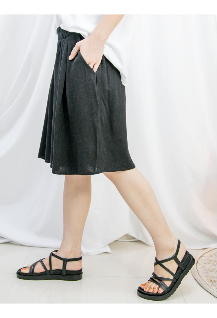 2115-1204-超舒服- 兩側袋 X 橡根腰 , 麻棉料闊短褲 (韓國)