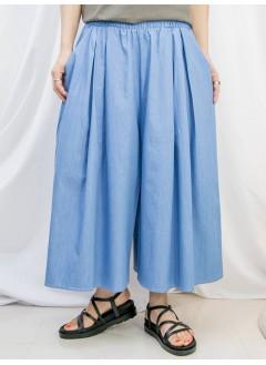 2115-1203- 勁好襯 - 兩側袋 X 橡根腰 , 薄牛仔料闊褲 (韓國)-