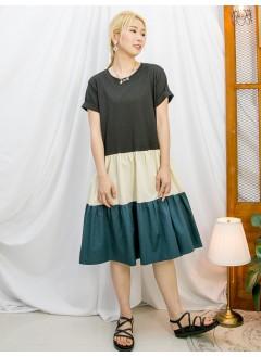 2116-1058 -輕鬆・自在-下擺拼色恤衫料 X 淨色COTTON料OPS (韓國)