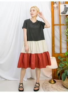 2116-1058A - 輕鬆・自在 -下擺拼色恤衫料 X 淨色COTTON料OPS (韓國)-