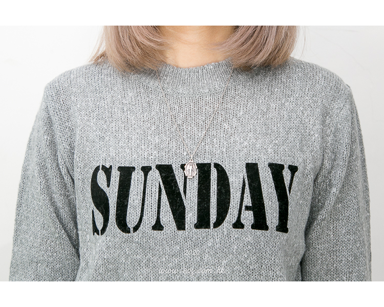 2011-1006-have a nice day- ' SUNDAY ' 英文字PRINT X 混色冷料TOP (韓國)0