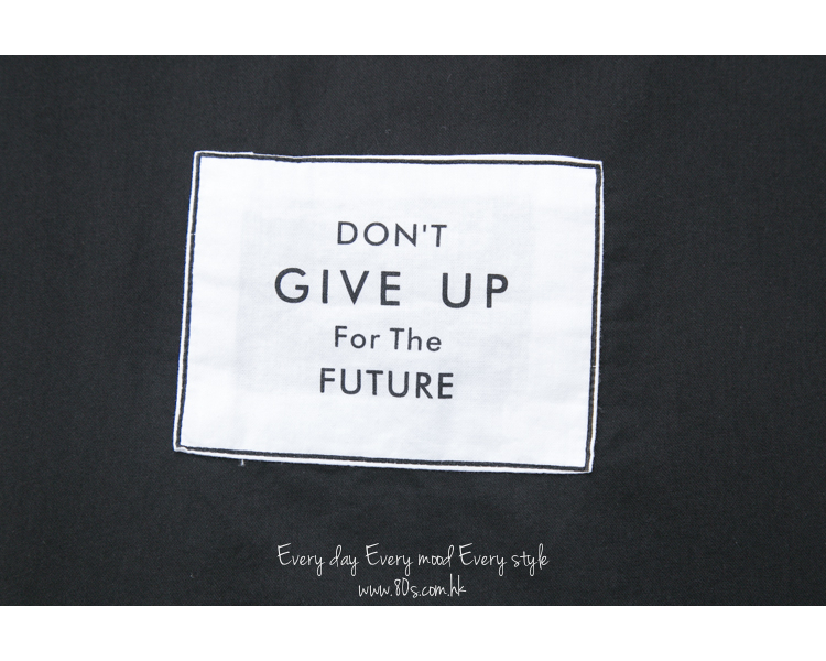 2011-1271-think・positive- ' DON'T GIVE UP ' 英文字PRINT X 麻棉料TOP (韓國)